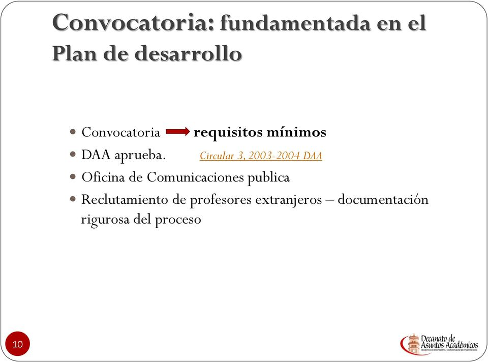 requisitos mínimos Circular 3, 2003-2004 DAA Oficina de