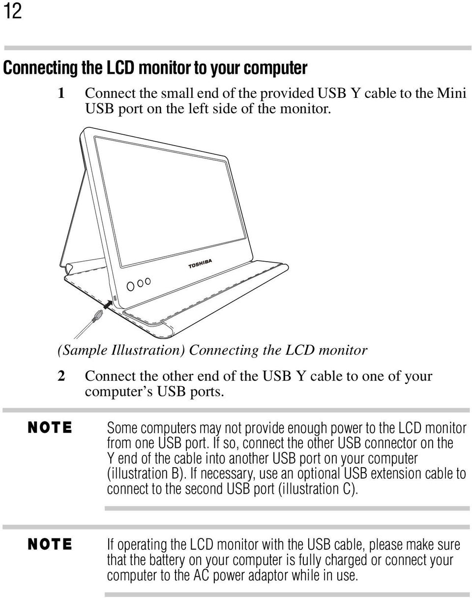 Some computers may not provide enough power to the LCD monitor from one USB port.