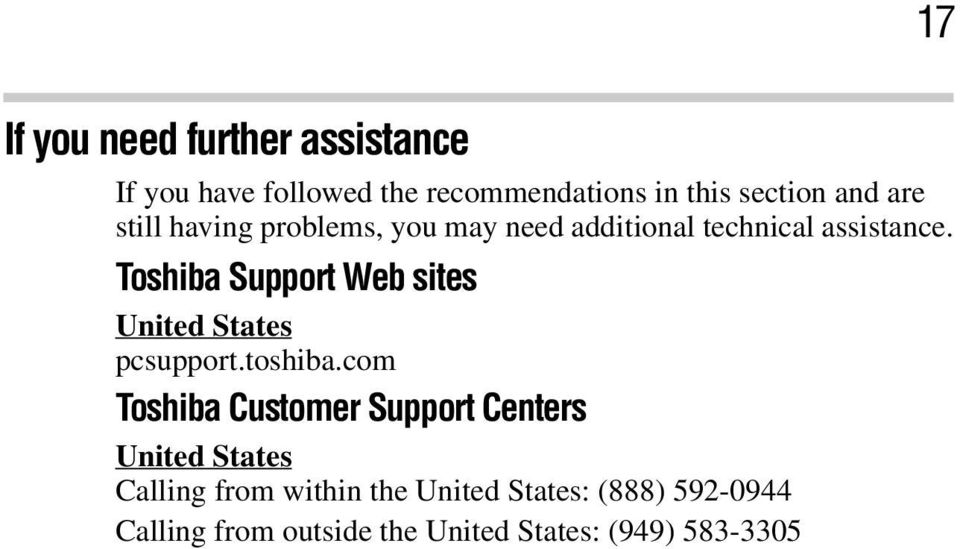 Toshiba Support Web sites United States pcsupport.toshiba.
