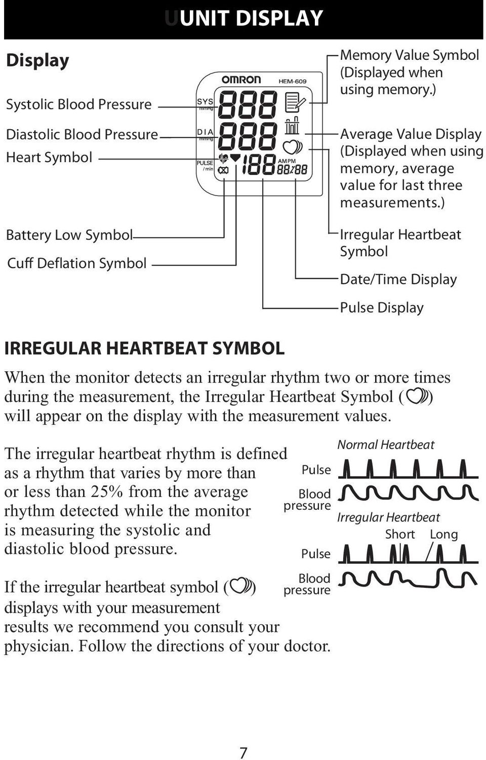 ) Irregular Heartbeat Symbol Date/Time Display Pulse Display IRREGULAR HEARTBEAT SYMBOL When the monitor detects an irregular rhythm two or more times during the measurement, the Irregular Heartbeat