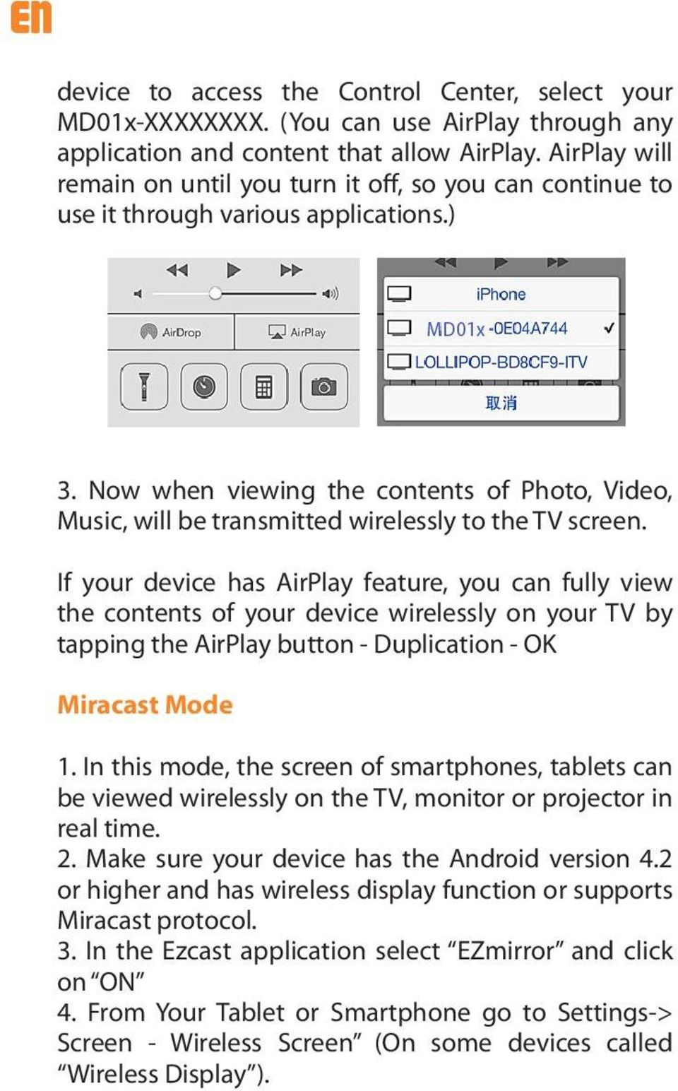 Now when viewing the contents of Photo, Video, Music, will be transmitted wirelessly to the TV screen.