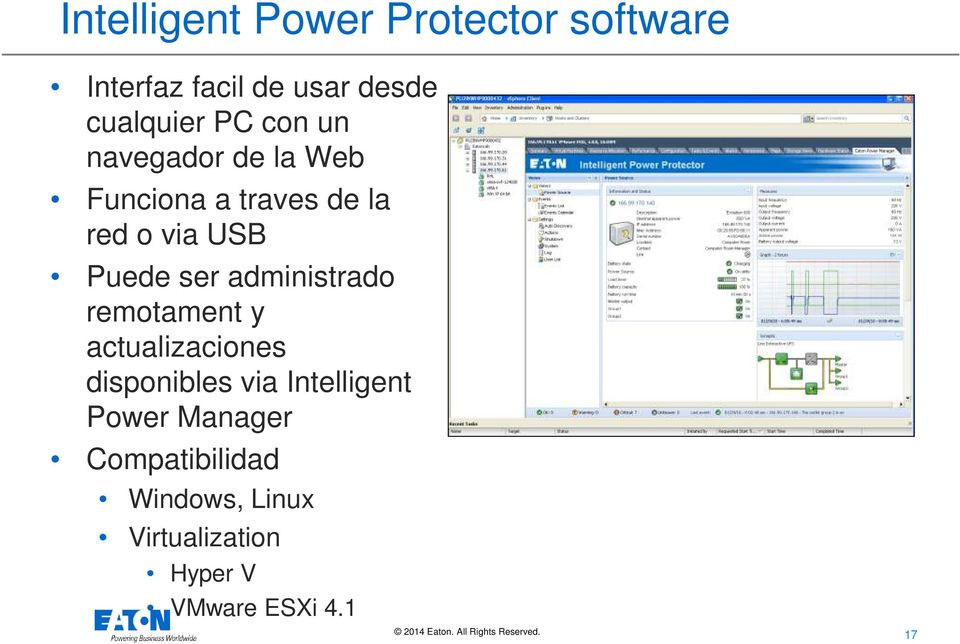 administrado remotament y actualizaciones disponibles via Intelligent Power