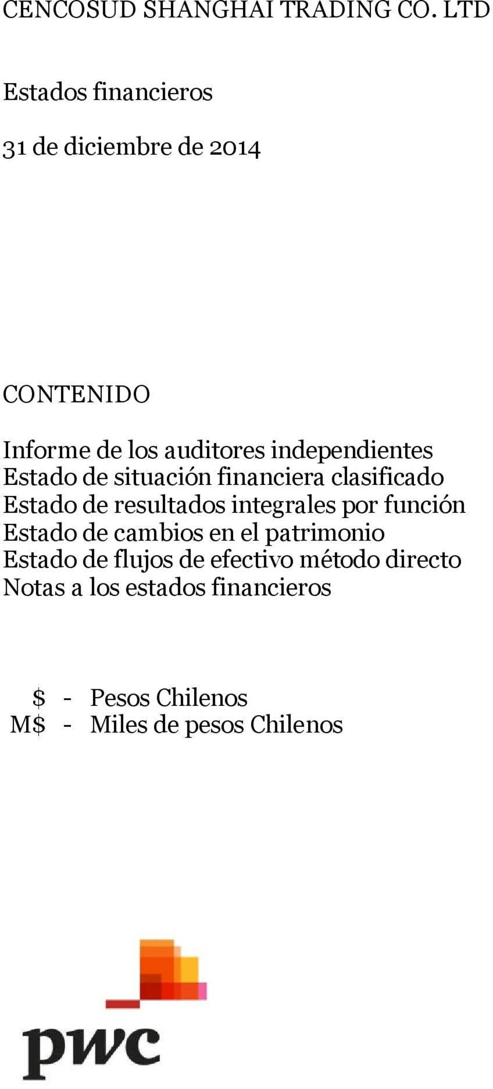 independientes Estado de situación financiera clasificado Estado de resultados integrales por