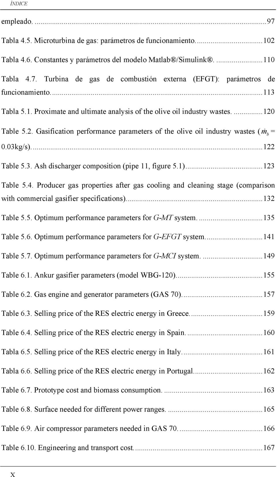 ... 122 Table 5.3. Ash discharger composition (pipe 11, figure 5.1)... 123 Table 5.4. Producer gas properties after gas cooling and cleaning stage (comparison with commercial gasifier specifications).