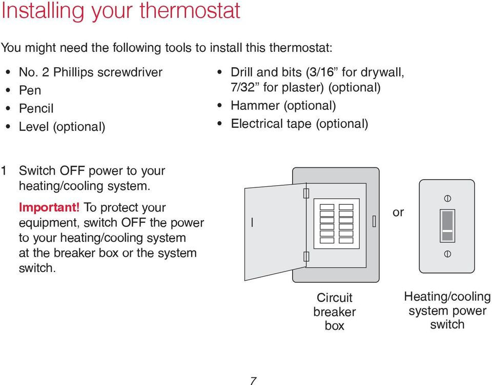 (optional) Electrical tape (optional) 1 Switch OFF power to your heating/cooling system. Important!