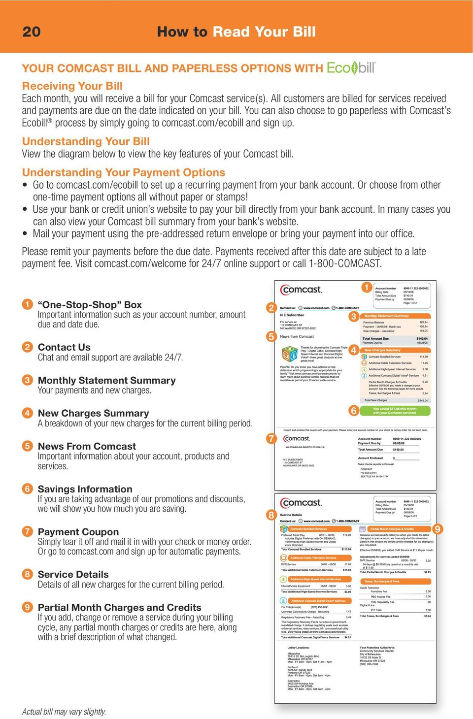 com/ecobill and sign up. Understanding Your Bill View the diagram below to view the key features of your Comcast bill. Understanding Your Payment Options Go to comcast.