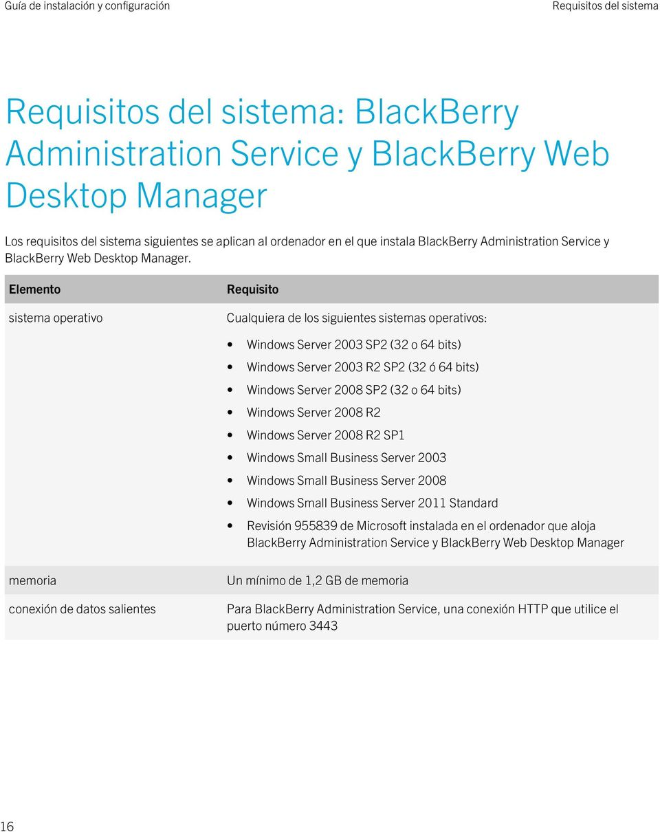Elemento sistema operativo Requisito Cualquiera de los siguientes sistemas operativos: Windows Server 2003 SP2 (32 o 64 bits) Windows Server 2003 R2 SP2 (32 ó 64 bits) Windows Server 2008 SP2 (32 o