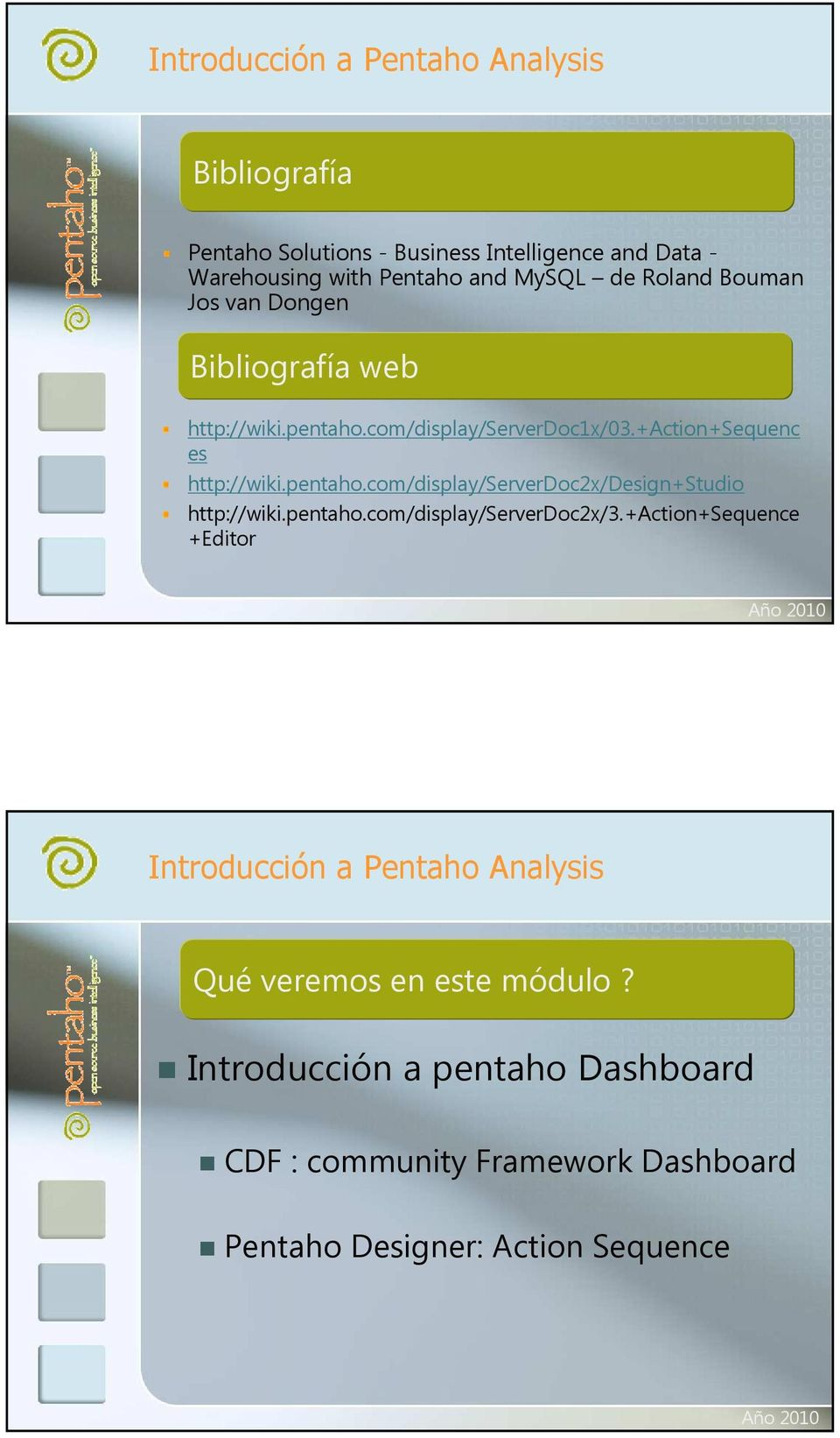 pentaho.com/display/serverdoc2x/3.+action+sequence +Editor Introducción a Pentaho Analysis Qué veremos en este módulo?