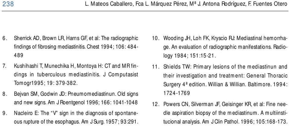 Old signs and new signs. Am J Roentgenol 1996; 166: 1041-1048 9. Nacleiro E: The V sign in the diagnosis of spontaneous rupture of the esophagus. Am J Surg. 1957; 93:291. 10. Wooding JH, Loh FK, Kryscio RJ: Mediastinal hemorrhage.
