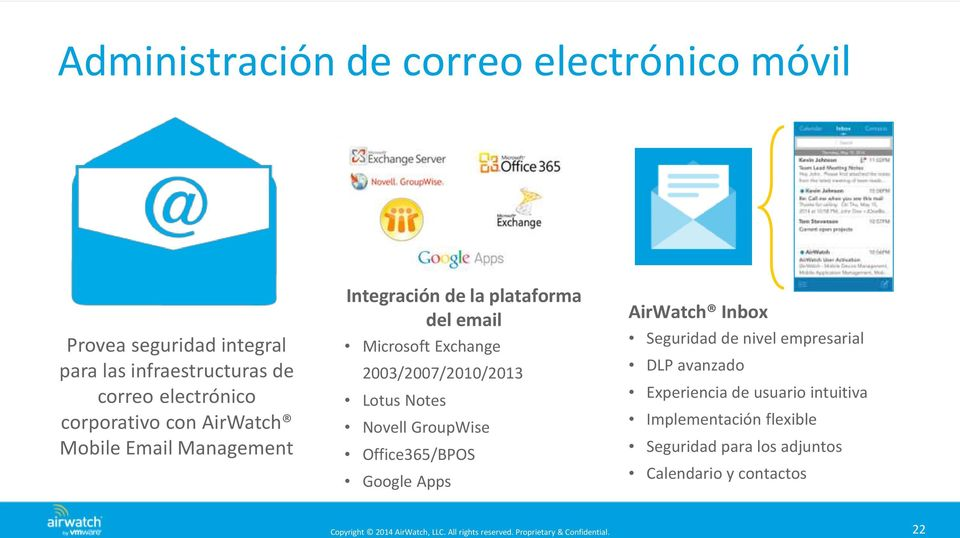 2003/2007/2010/2013 Lotus Notes Novell GroupWise Office365/BPOS Google Apps AirWatch Inbox Seguridad de nivel