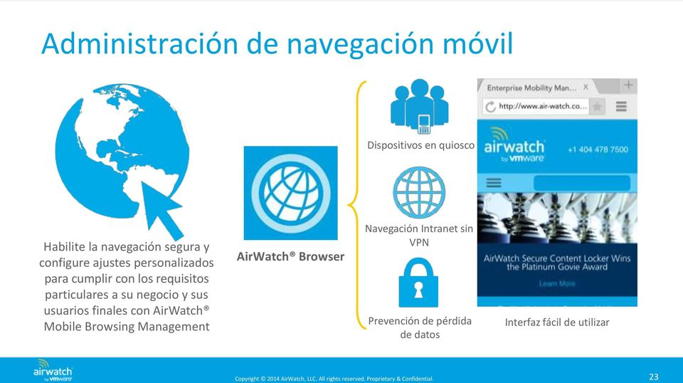 a su negocio y sus usuarios finales con AirWatch Mobile Browsing Management AirWatch