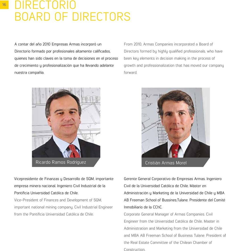 From 2010, Armas Companies incorporated a Board of Directors formed by highly qualified professionals, who have been key elements in decision making in the process of growth and professionalization
