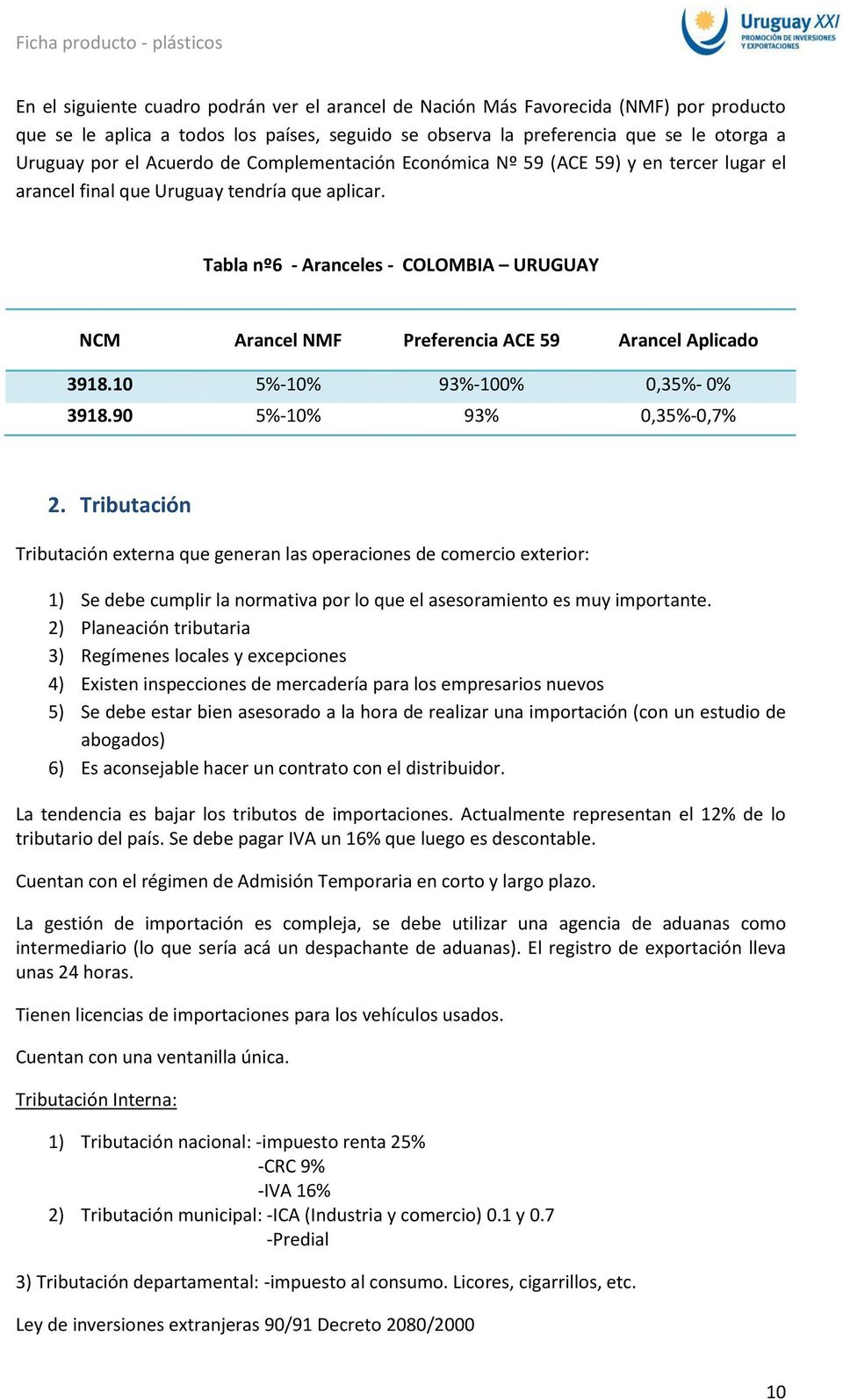 Tabla nº6 - Aranceles - COLOMBIA URUGUAY NCM Arancel NMF Preferencia ACE 59 Arancel Aplicado 3918.10 5%-10% 93%-100% 0,35%- 0% 3918.90 5%-10% 93% 0,35%-0,7% 2.