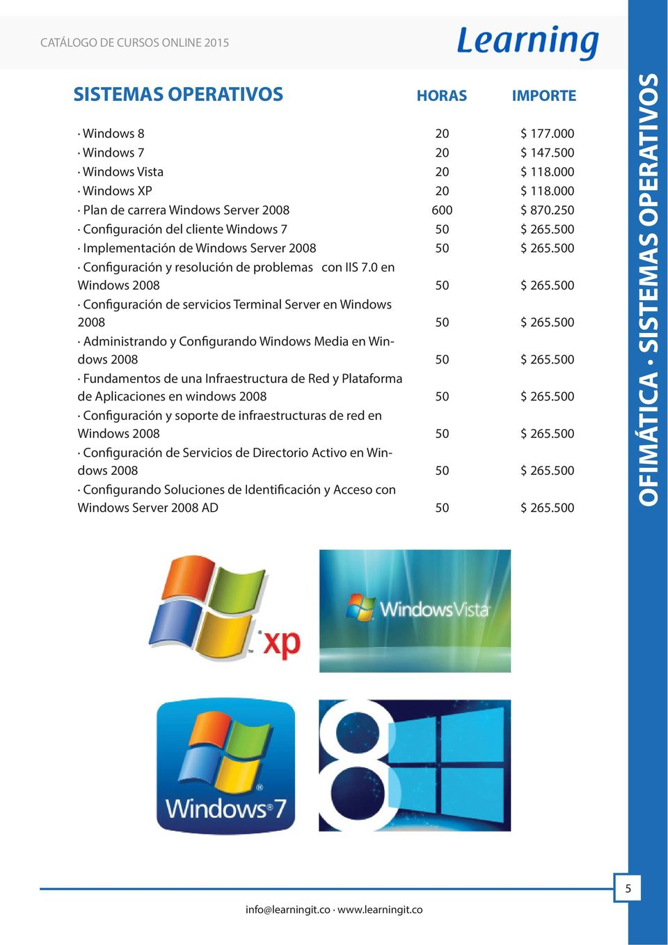 500 Configuración de servicios Terminal Server en Windows 2008 50 $ 265.500 Administrando y Configurando Windows Media en Windows 2008 50 $ 265.