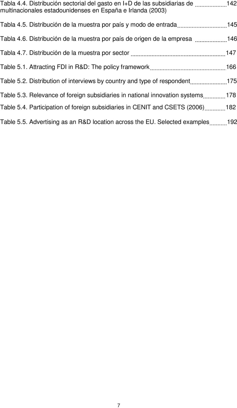 Distribución de la muestra por sector 147 Table 5.1. Attracting FDI in R&D: The policy framework 166 Table 5.2.