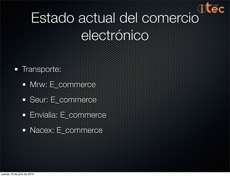 E_commerce Seur: E_commerce