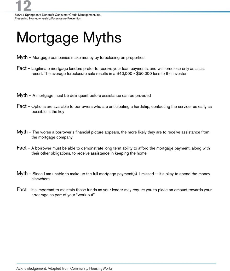 anticipating a hardship, contacting the servicer as early as possible is the key Myth The worse a borrower s financial picture appears, the more likely they are to receive assistance from the