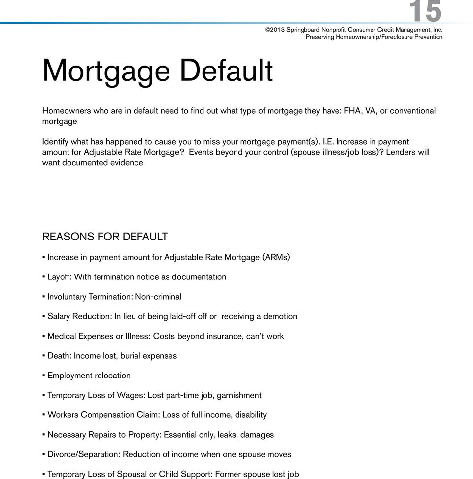 Lenders will want documented evidence REASONS FOR DEFAULT Increase in payment amount for Adjustable Rate Mortgage (ARMs) Layoff: With termination notice as documentation Involuntary Termination: