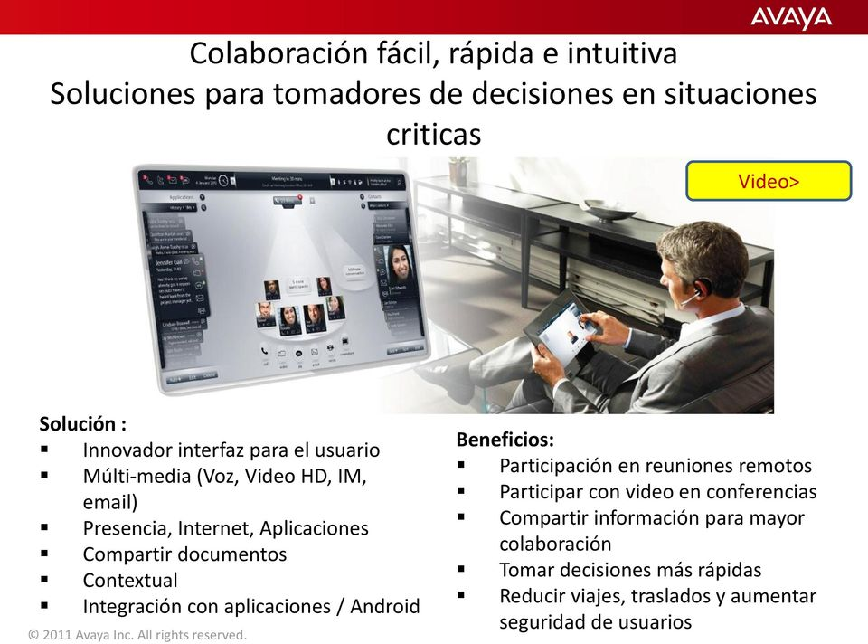Integración con aplicaciones / Android 2011 Avaya Inc. All rights reserved.