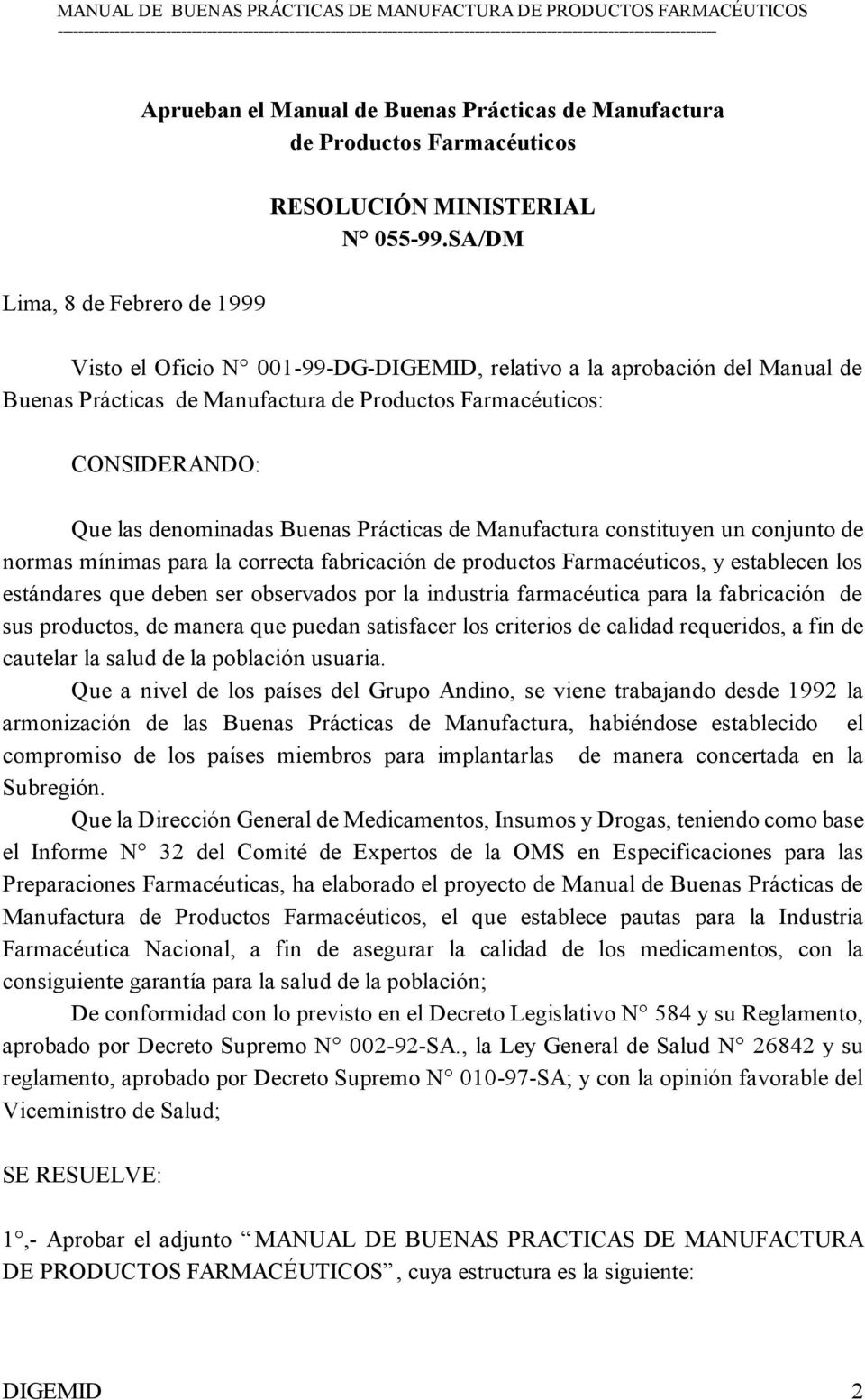 Republica del peru digemid pdf for Manual de buenas practicas de manufactura pdf