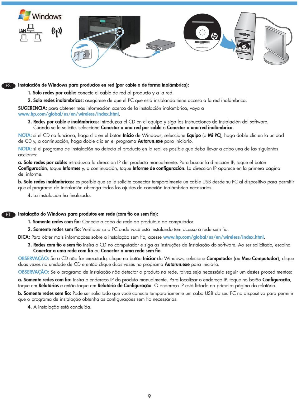 com/global/us/en/wireless/index.html. 3. Redes por cable e inalámbricas: introduzca el CD en el equipo y siga las instrucciones de instalación del software.