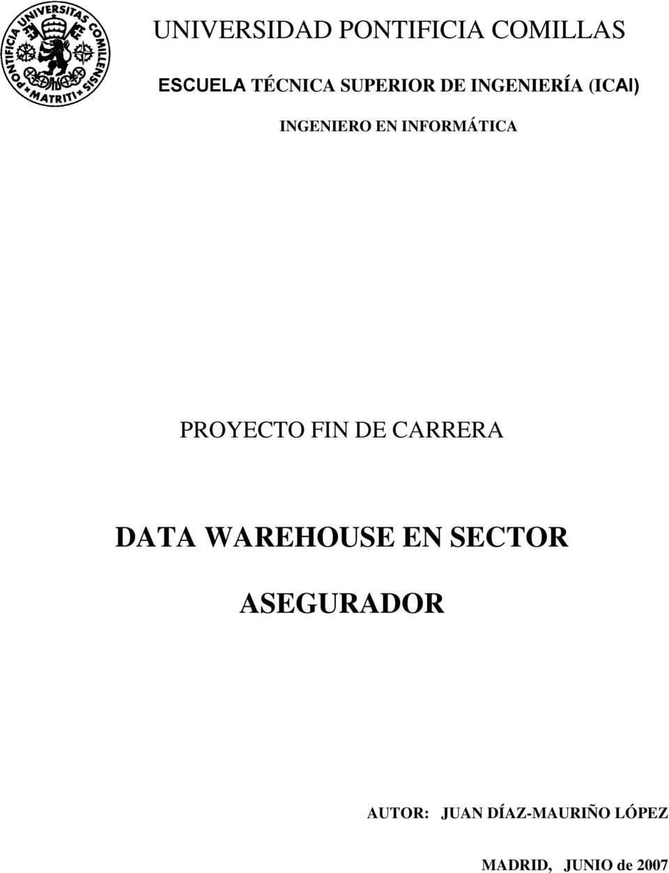 INFORMÁTICA PROYECTO FIN DE CARRERA DATA WAREHOUSE EN