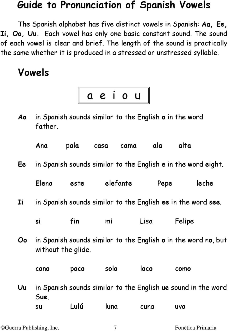 Vowels a e i o u Aa in Spanish sounds similar to the English a in the word father. Ana pala casa cama ala alta Ee in Spanish sounds similar to the English e in the word eight.