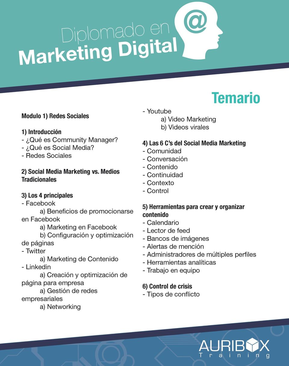 - Linkedin a) Creación y optimización de página para empresa a) Gestión de redes empresariales a) Networking - Youtube a) Video Marketing b) Videos virales 4) Las 6 C s del Social Media Marketing -