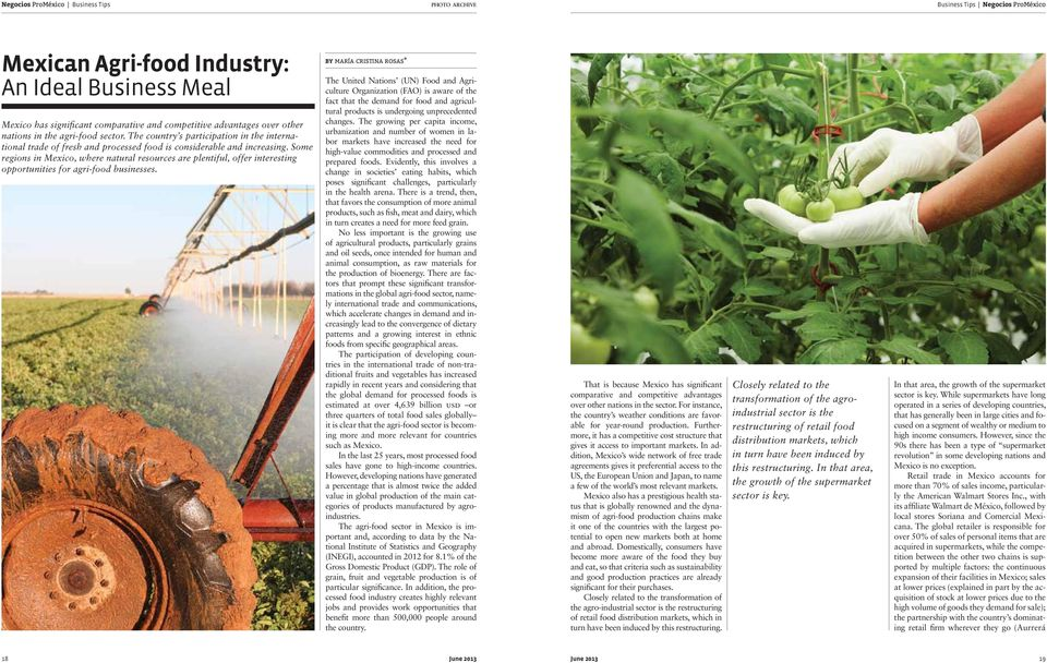 Some regions in Mexico, where natural resources are plentiful, offer interesting opportunities for agri-food businesses.