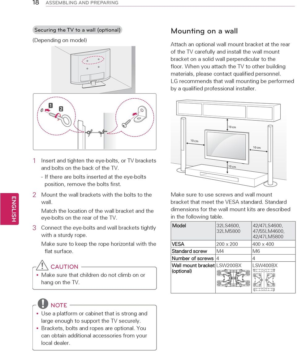 LG recommends that wall mounting be performed by a qualified professional installer. 10 cm 10 cm 10 cm ENGLISH 1 Insert and tighten the eye-bolts, or TV brackets and bolts on the back of the TV.