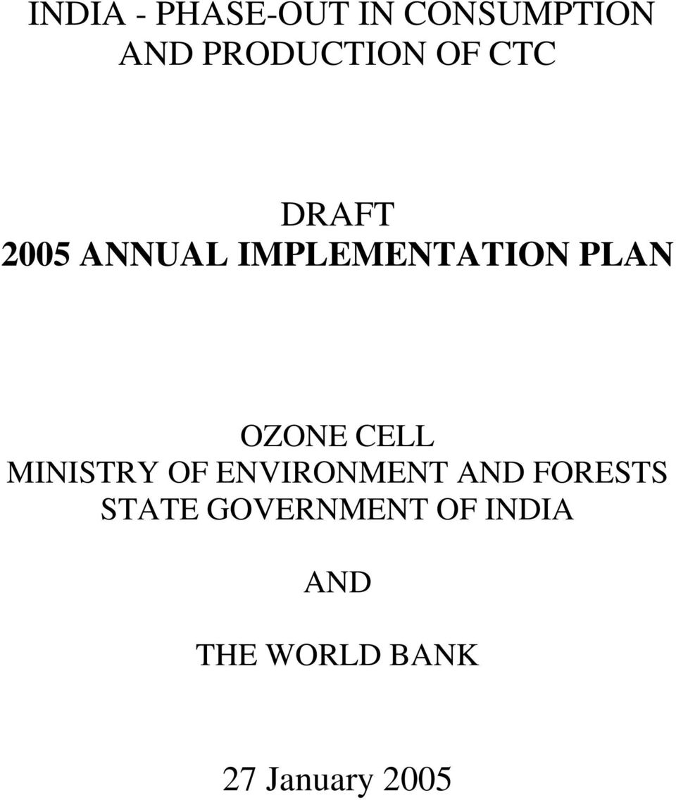 OZONE CELL MINISTRY OF ENVIRONMENT AND FORESTS