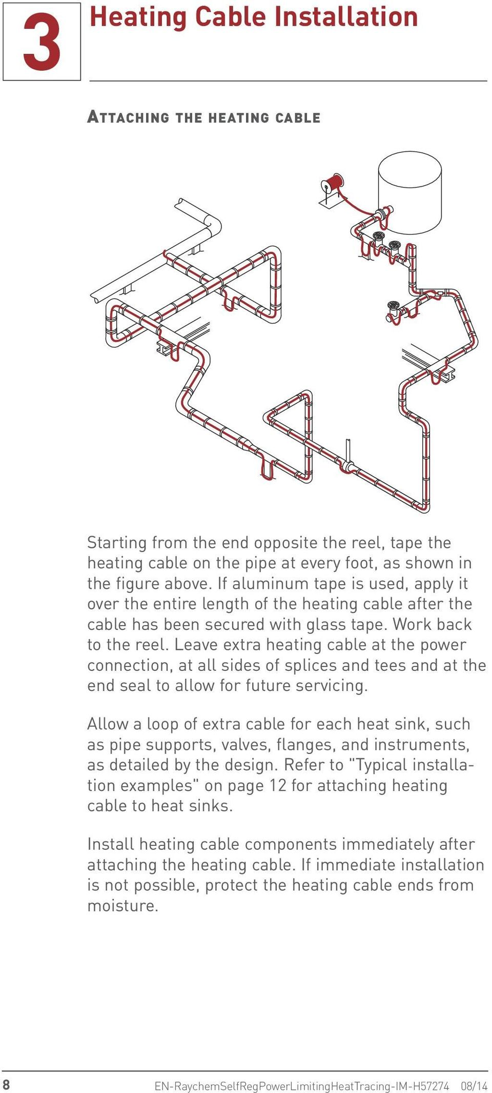 Leave extra heating cable at the power connection, at all sides of splices and tees and at the end seal to allow for future servicing.