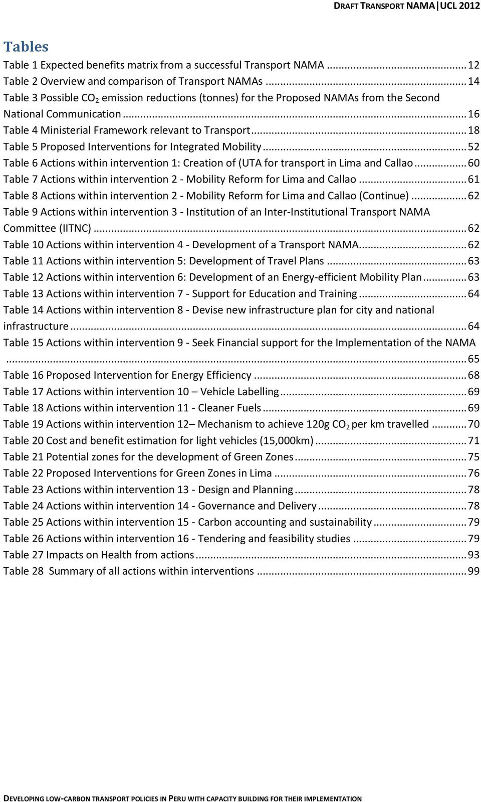 .. 18 Table 5 Proposed Interventions for Integrated Mobility... 52 Table 6 Actions within intervention 1: Creation of (UTA for transport in Lima and Callao.