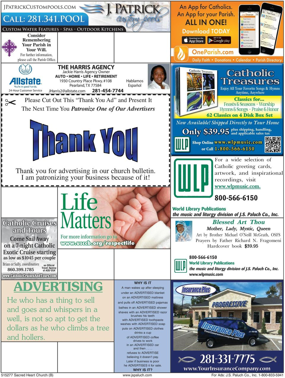 com 281-454-7744 Please Cut Out This Thank You Ad and Present It The Next Time You Patronize One of Our Advertisers Thank you for advertising in our church bulletin.