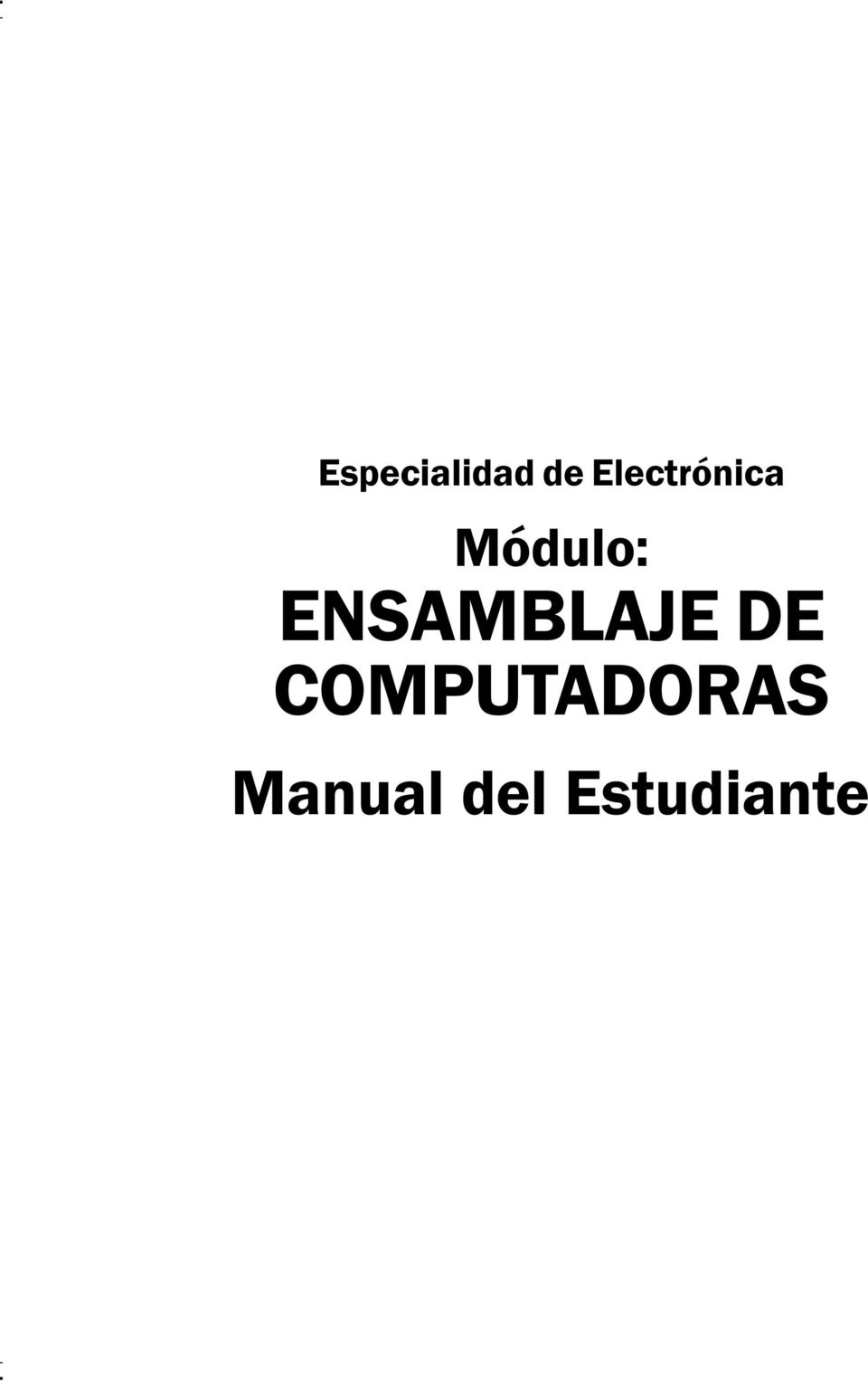 Manual del Estudiante Especialidad de