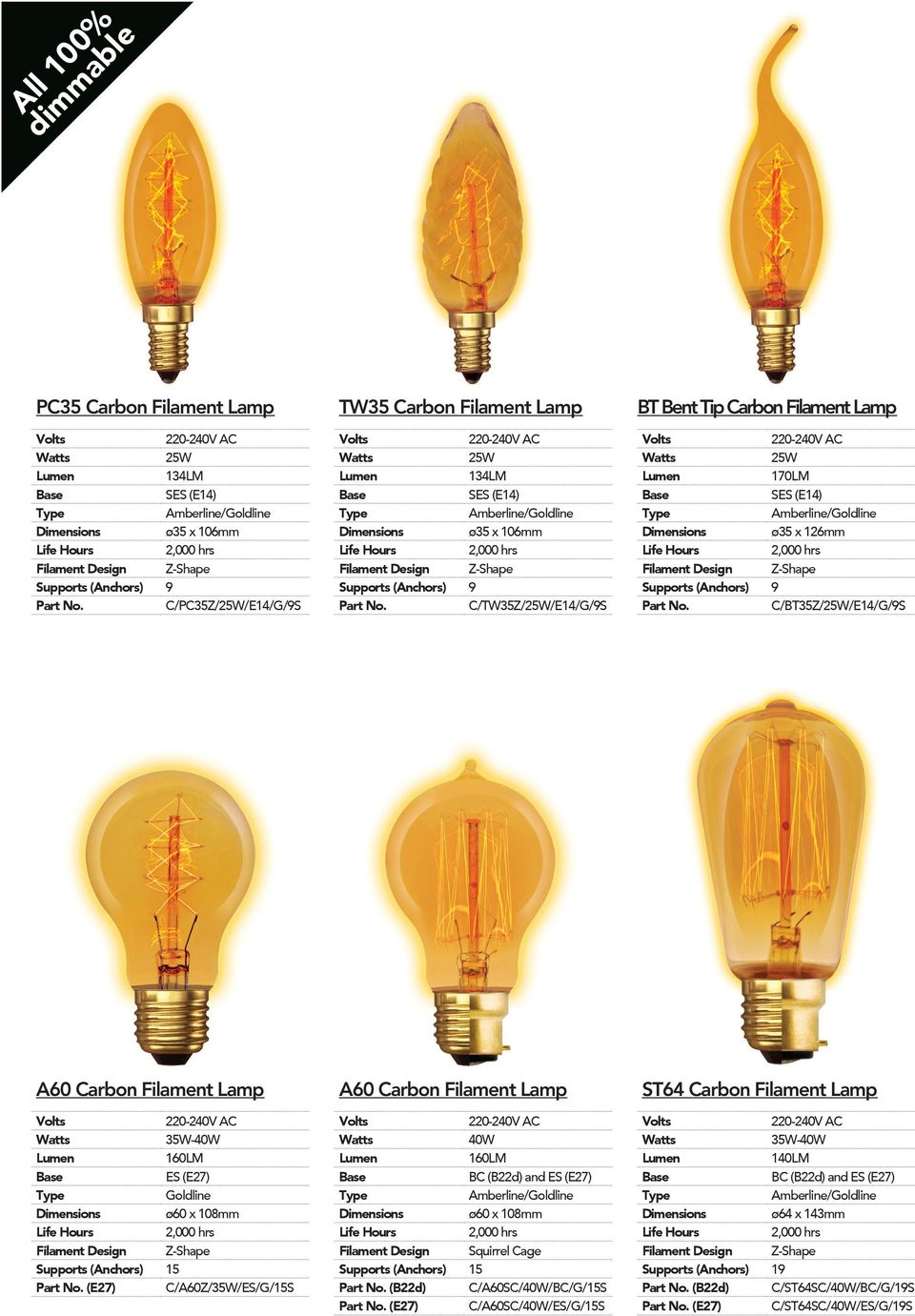 160LM ES (E27) Goldline Dimensions ø60 x 108mm Supports (Anchors) 15 (E27) C/A60Z/35W/ES/G/15S A60 Carbon Filament Lamp 40W 160LM Dimensions ø60 x 108mm Filament Design Squirrel Cage Supports
