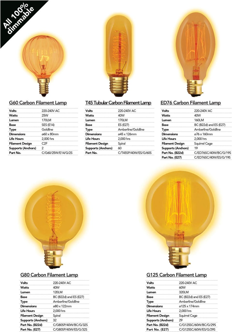 (Anchors) 19 (B22d) C/ED76SC/40W/BC/G/19S (E27) C/ED76SC/40W/ES/G/19S G80 Carbon Filament Lamp 40W 120LM Dimensions ø80 x 122mm Filament Design Spiral Supports (Anchors) 32 (B22d)