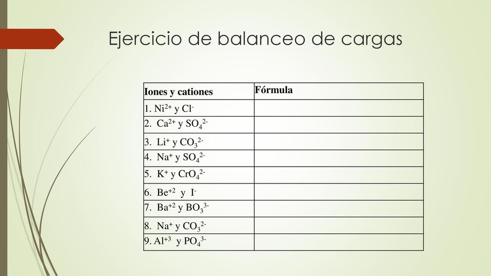 Li + y CO 2-3 4. Na + y SO 2-4 5. K + y CrO 2-4 6.