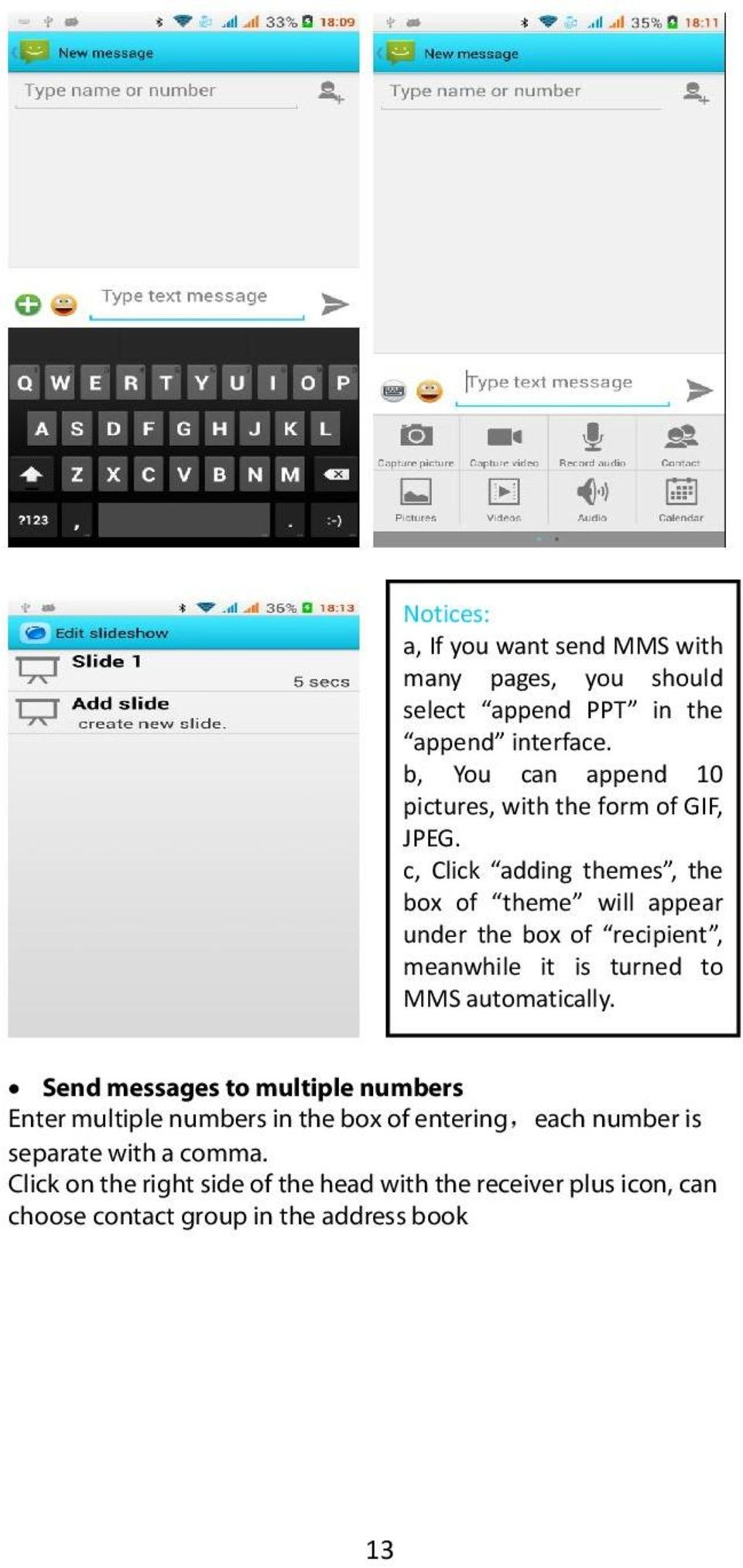 c, Click adding themes, the box of theme will appear under the box of recipient, meanwhile it is turned to MMS automatically.