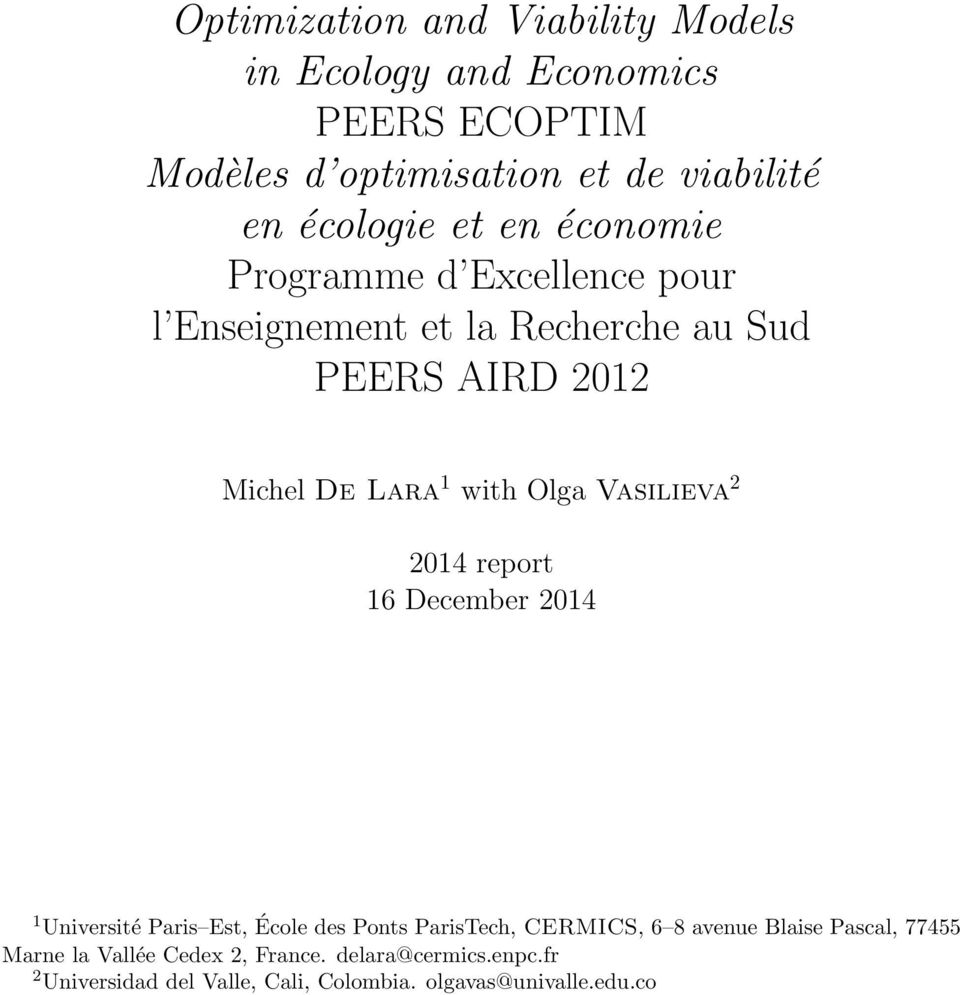 Vasilieva 2 2014 report 16 December 2014 1 Université Paris Est, École des Ponts ParisTech, CERMICS, 6 8 avenue Blaise
