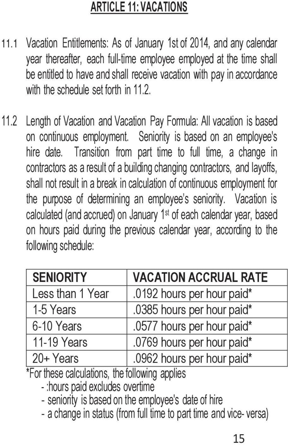 accordance with the schedule set forth in 11.2. 11.2 Length of Vacation and Vacation Pay Formula: All vacation is based on continuous employment. Seniority is based on an employee's hire date.