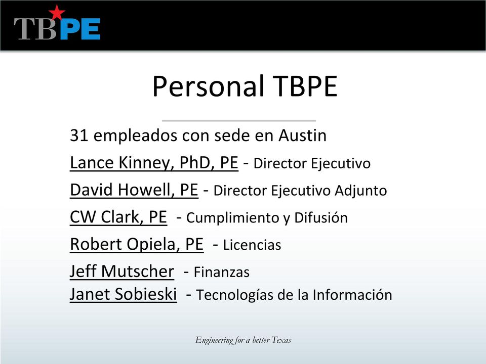 Texas Board of Professional Engineers Licencia Profesional. TBPE ...