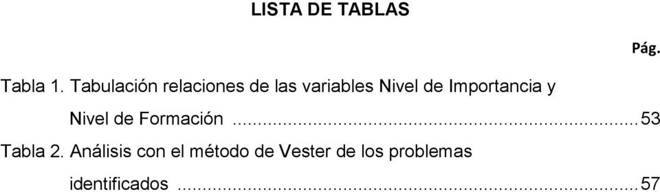 Importancia y Nivel de Formación... 53 Tabla 2.