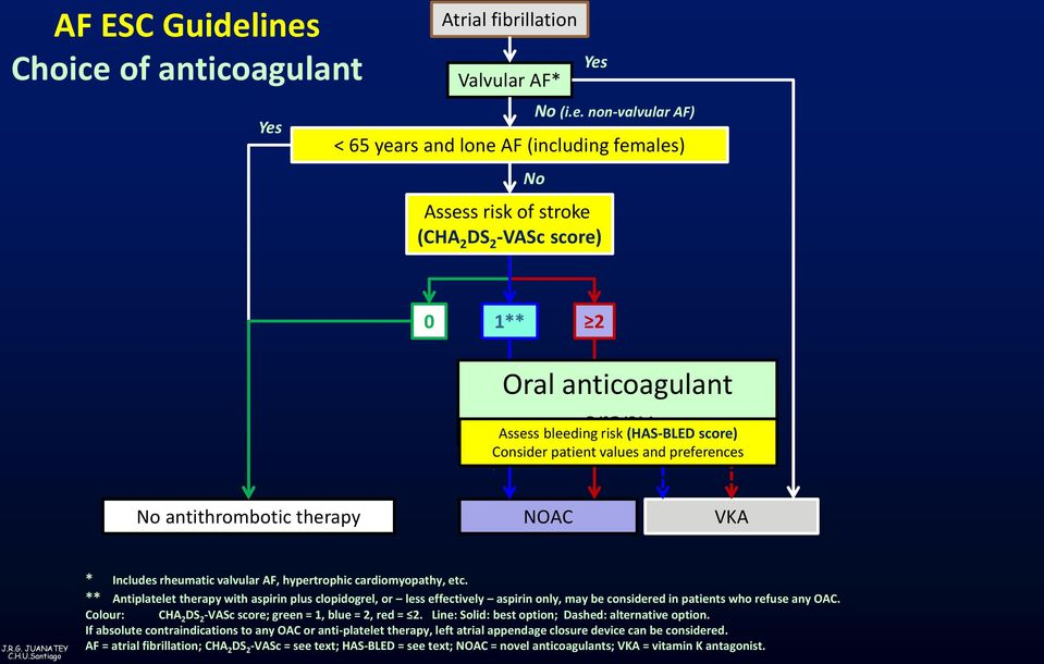Oral anticoagulant erapy Assess bleeding risk (HAS-BLED score) Consider patient values and preferences No antithrombotic therapy NOAC VKA * Includes rheumatic valvular AF, hypertrophic