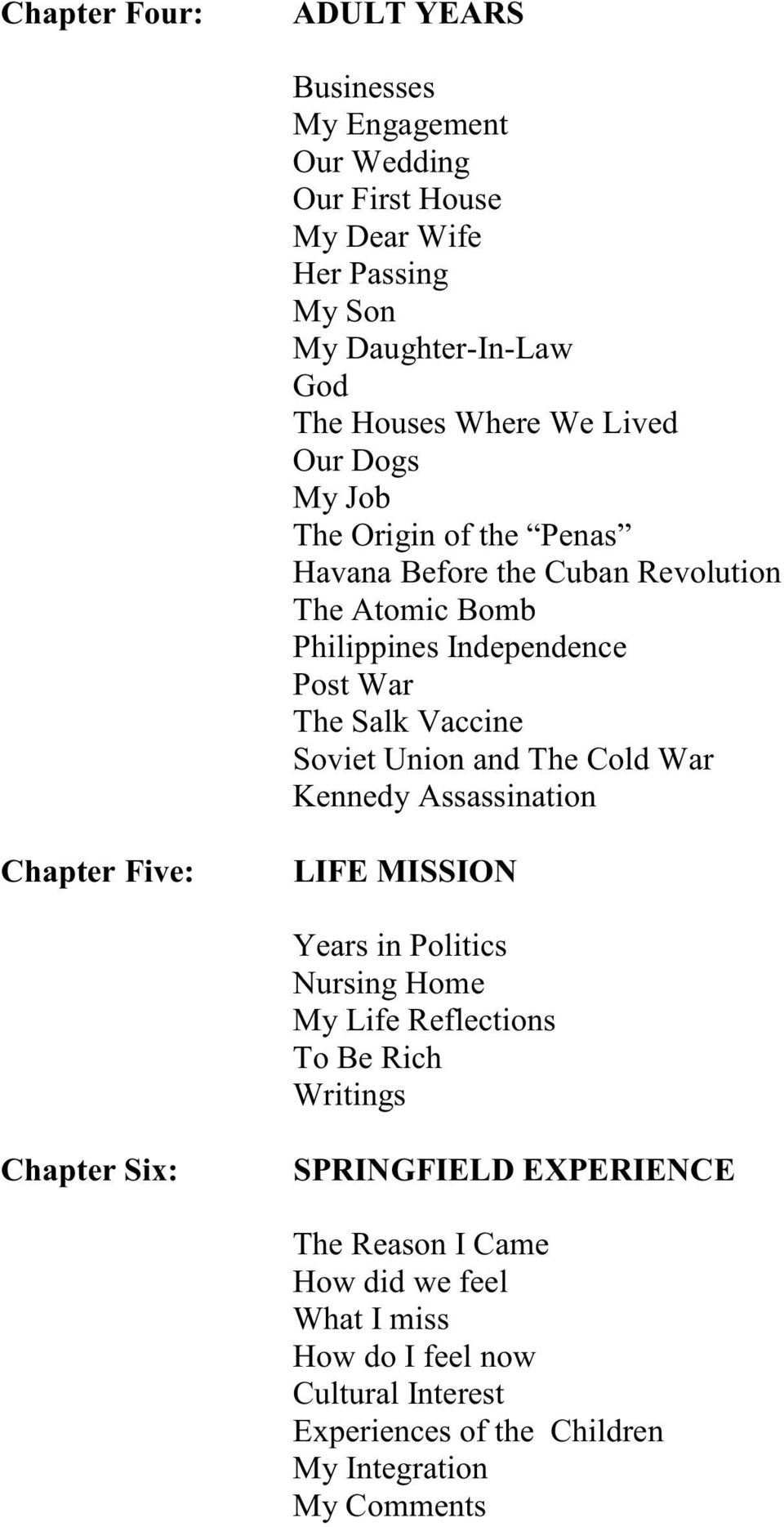 Union and The Cold War Kennedy Assassination Chapter Five: LIFE MISSION Years in Politics Nursing Home My Life Reflections To Be Rich Writings Chapter Six:
