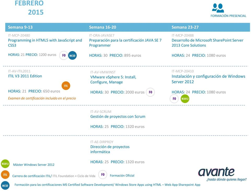 certificación incluido en el precio IT-AV-VMWINST VMware vsphere 5: Install, Configure, Manage HORAS: 30 PRECIO: 2000 euros IT-MCP-20410 Instalación y configuración de Windows Server 2012 IT-AV-SCRUM