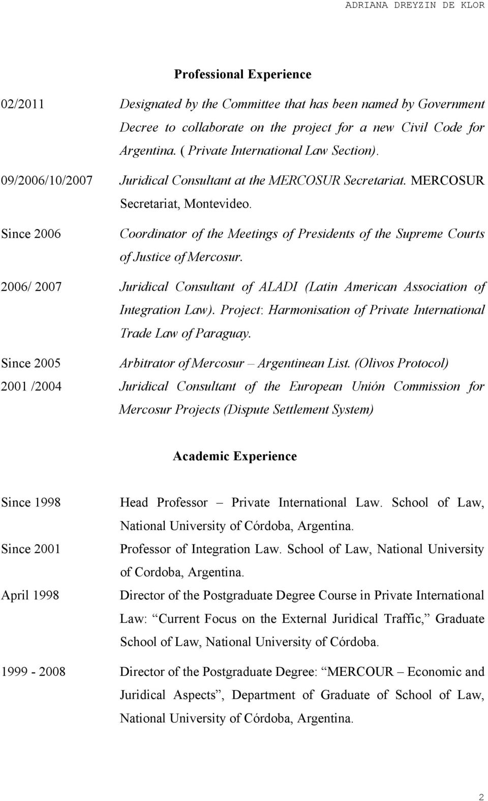 Since 2006 Coordinator of the Meetings of Presidents of the Supreme Courts of Justice of Mercosur. 2006/ 2007 Juridical Consultant of ALADI (Latin American Association of Integration Law).