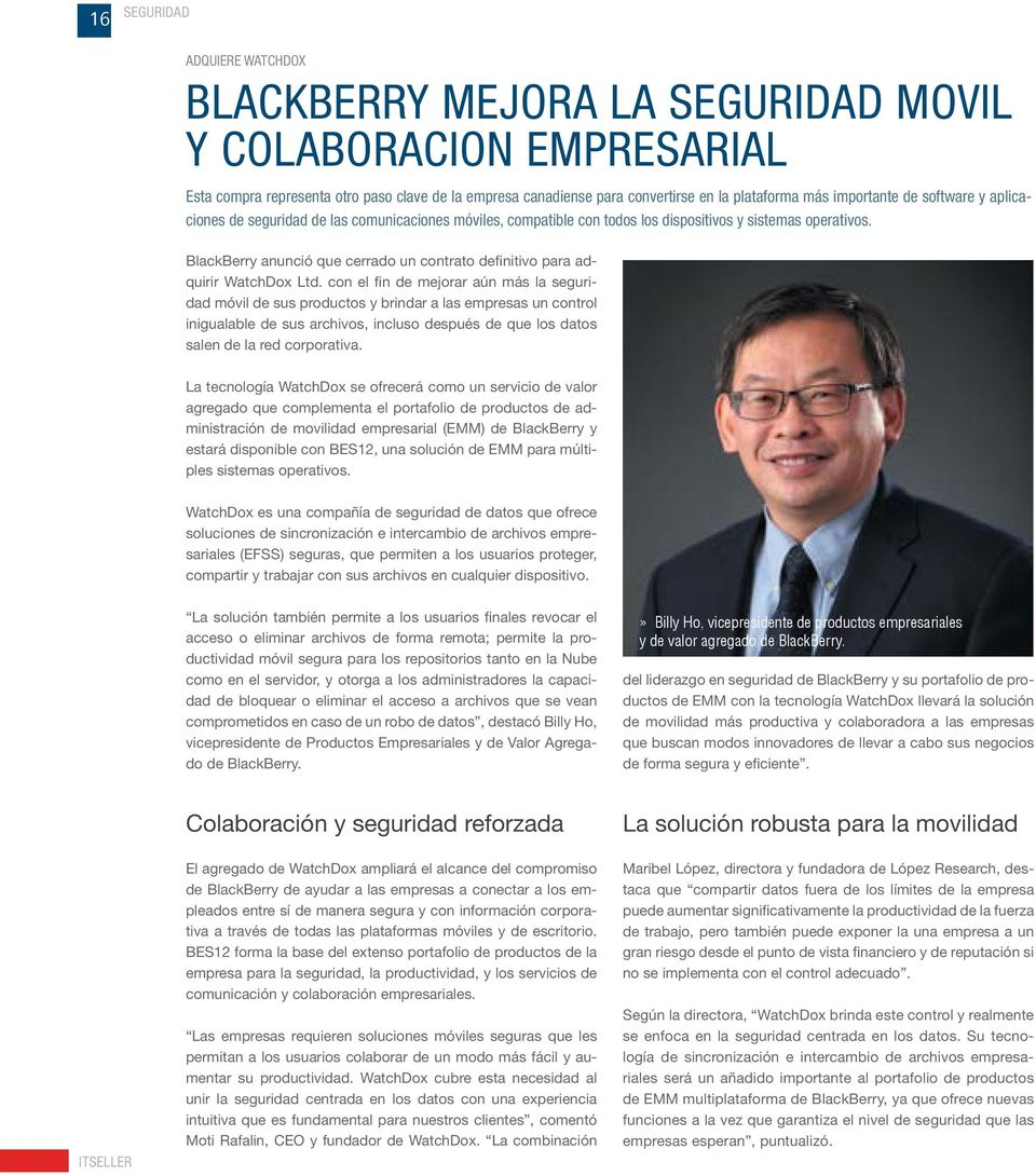 BlackBerry anunció que cerrado un contrato definitivo para adquirir WatchDox Ltd.