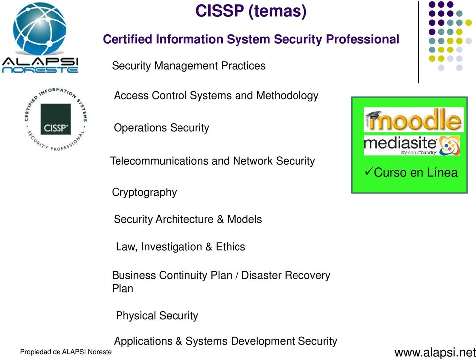 Security Cryptography Curso en Línea Security Architecture & Models Law, Investigation & Ethics