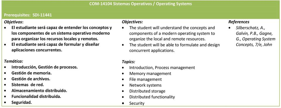 The student will understand the concepts and components of a modern operating system to organize the local and remote resources.